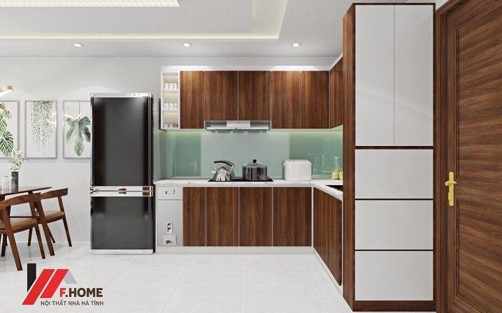 Tủ bếp bằng chất liệu gỗ vùa đẹp vừa bền, tạo không gian bếp hiện đại